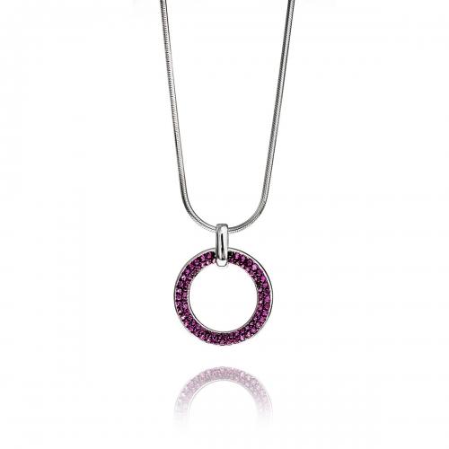 Zinzi Red CZ Circle Necklace Set