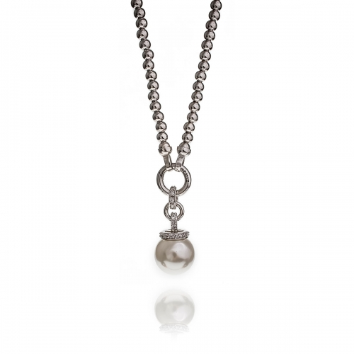 Zinzi Pearl and CZ Necklace Set