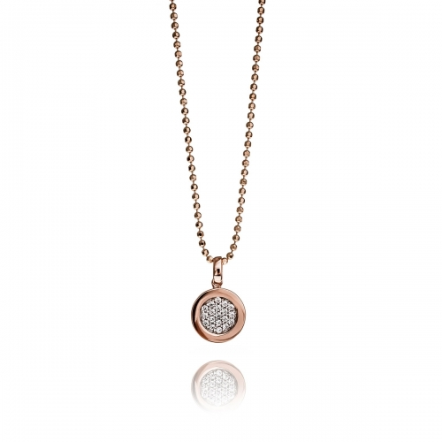 Zinzi Rose Gold and Silver Circle Pendant Necklace Set