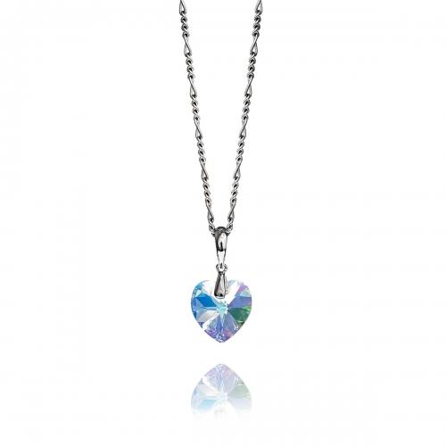 Zinzi White Swarovski Heart Necklace Set