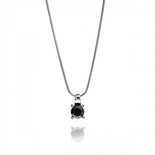 Zinzi Black CZ Pendant Necklace Set