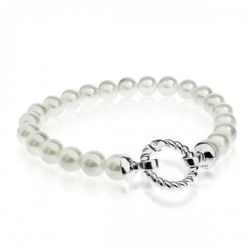 Zinzi White Pearl Beaded 19cm Bracelet ZIA401W & Silver Lock ZI360