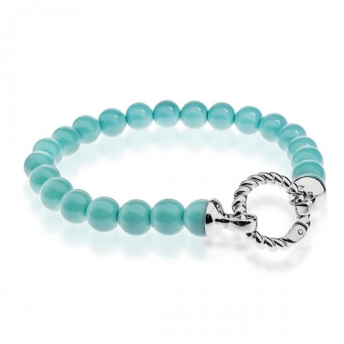 Zinzi Turquoise Pearl Beaded 19cm Bracelet ZIA401T & Silver Lock ZI360
