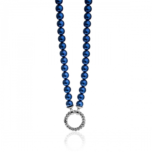 Zinzi Blue Pearl Beaded 45cm Necklace ZIC401BL & Silver Lock ZI359