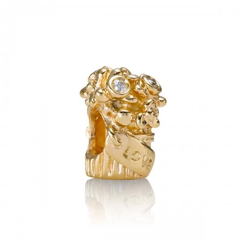 Pandora Love Bouquet 14k Gold & Diamond Charm 750446D