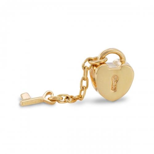 Pandora Heart Lock & Key 14k Gold Charm 750341