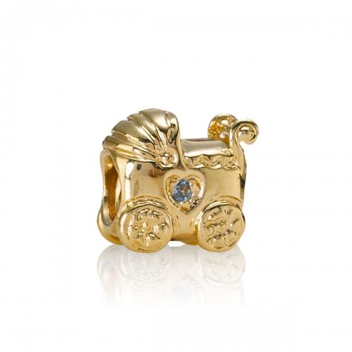 Pandora Pram 14k Gold & Blue Topaz Charm 750409BTP