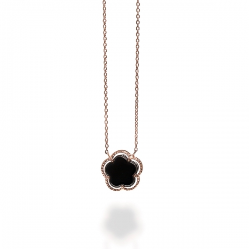 Claudine Rose Gold Flower Pendant Necklace