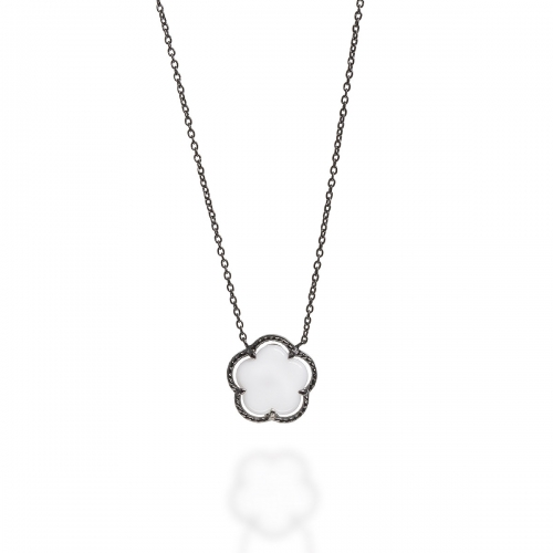 Claudine Oxidised Silver Flower Pendant Necklace