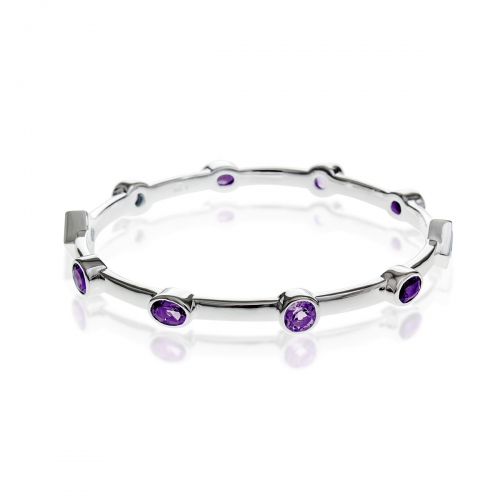 Storywheels Fine Silver & Amethyst Bangle B379A