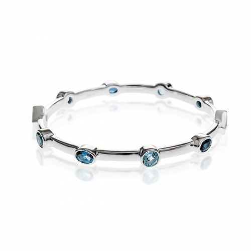 Storywheels Fine Silver & Blue Topaz Bangle B379MUL