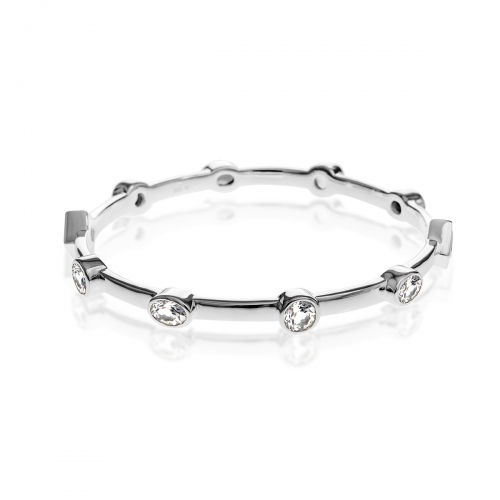 Storywheels Fine Silver & White Topaz Bangle B379WT