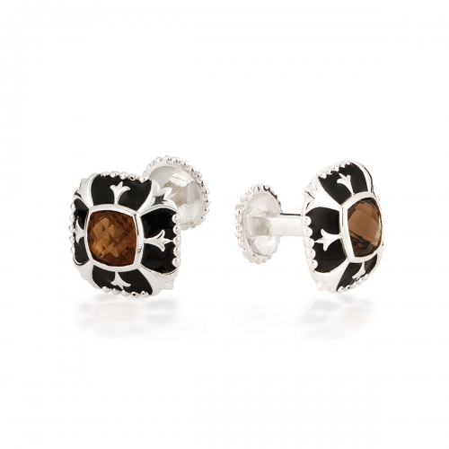 Storywheels Silver, Smoky Topaz & Black Enamel Cufflinks CL1SQ