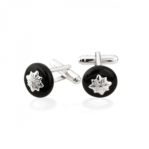 Storywheels Silver & Onyx Cufflinks CL6ON