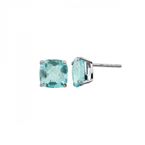 Storywheels Silver & Swiss Blue Topaz Stud Earrings E7672SK
