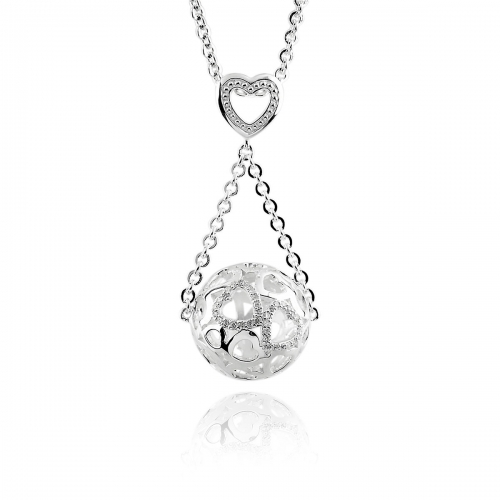 Storywheels Fine Silver & Diamond Ball of Hearts Necklace Set N598D