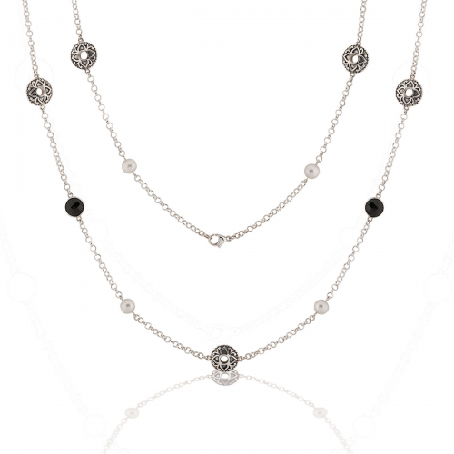 Storywheels Silver, Onyx & Pearl Necklace N7935MUL