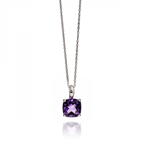 Storywheels Silver & Check Amethyst Pendant Necklace P7672A