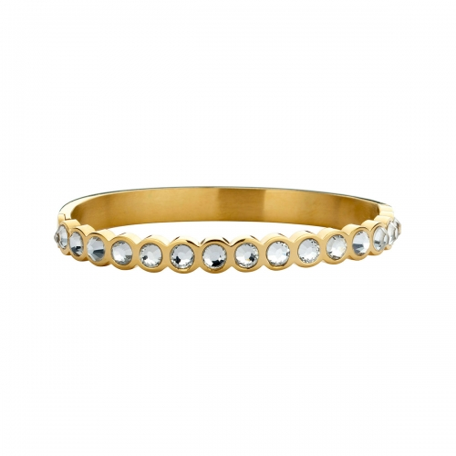 Nicky Vankets White Stone and Gold Plated Bangle