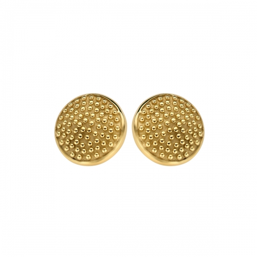Nicky Vankets Large Gold Textured Earrings Studs