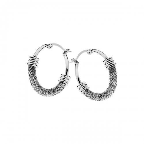 Nicky Vankets Silver Mesh Hoop Earrings