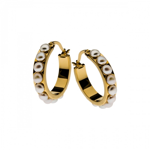 Nicky Vankets Gold Pearl Hoop Earrings