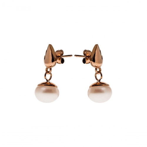 Nicky Vankets Rose Gold & Pearl Stud Dangle Earrings