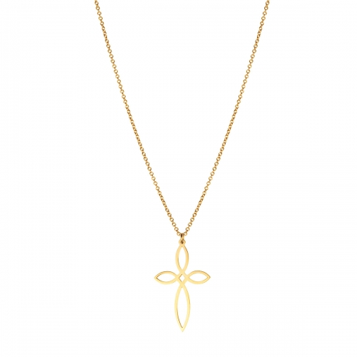 Nicky Vankets Gold Plated Open Cross Necklace