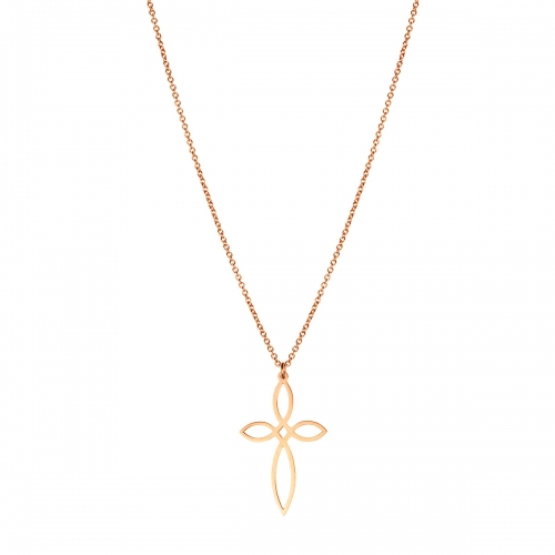 Nicky Vankets Rose Gold Plated Open Cross Necklace