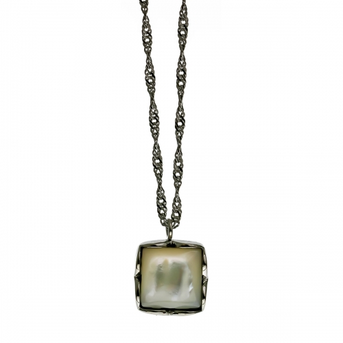 Nicky Vankets Silver Figaro Necklace with Square Pendant