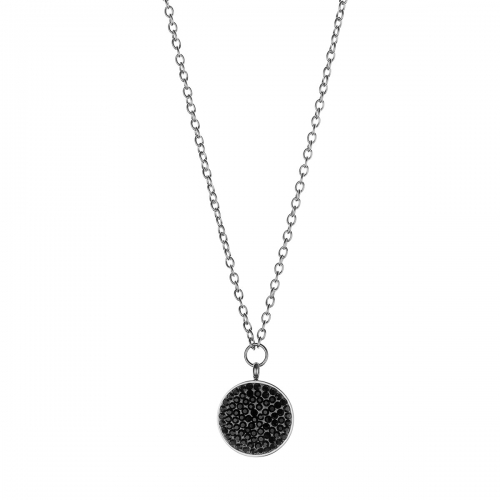 Nicky Vankets Silver and Black Stone Disc Necklace