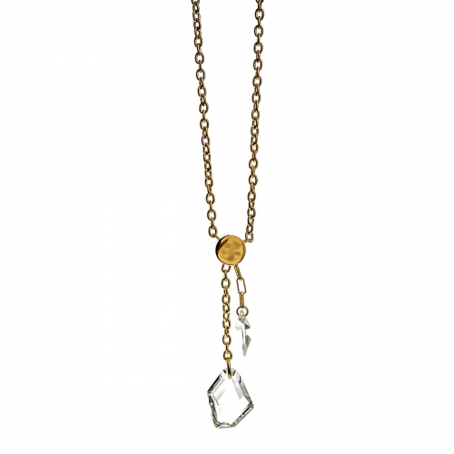 Nicky Vankets Gold and Clear Stone Necklace