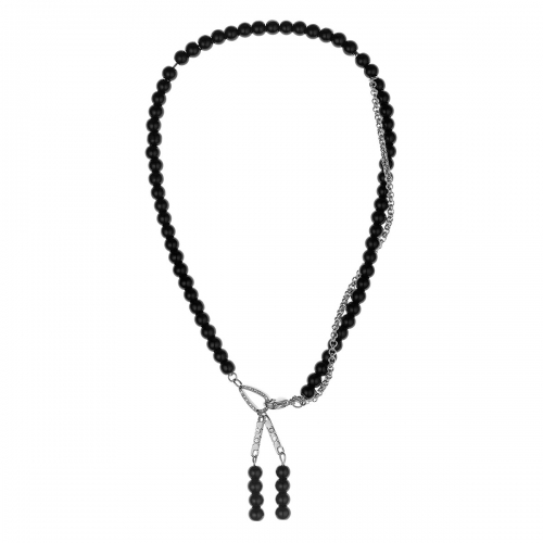 Nicky Vankets Silver and Black Beaded Necklace