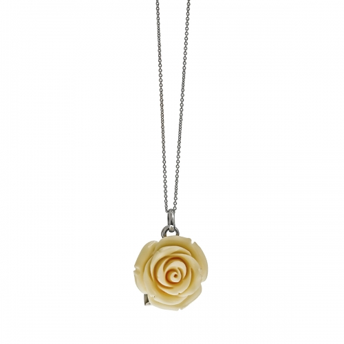 Nicky Vankets White Rose Necklace