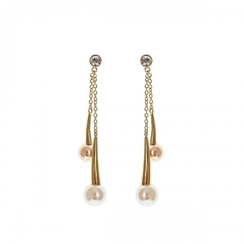 Nicky Vankets Gold Pearl Chain Pendant Earrings
