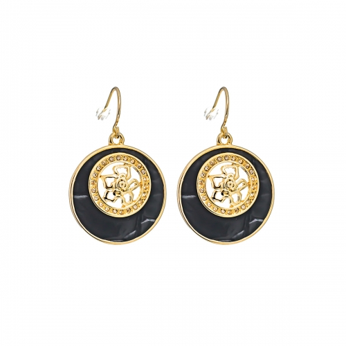 Nicky Vankets Black and Gold Disc Earrings