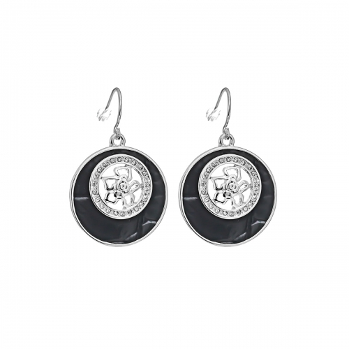 Nicky Vankets Black and Silver Disc Earrings