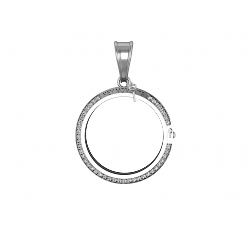 Key Moments Small Silver CZ Pendant 25mm 8KM-P00002