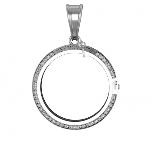 Key Moments Large Silver CZ Pendant 33mm 8KM-P00004