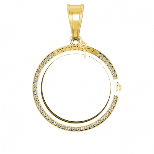Key Moments Large Gold CZ Pendant 33mm 8KM-P00012