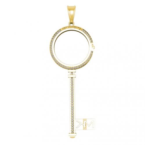 Key Moments Large Gold Key CZ Pendant 25mm 8KM-P00016