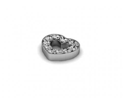 Key Moments Silver Heart Stones Element 8KM-E00033