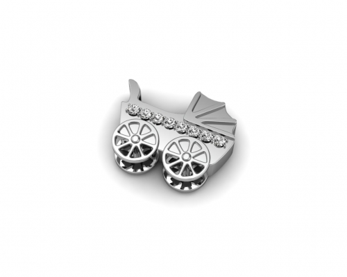 Key Moments Silver Baby Carriage Stones Element 8KM-E00035