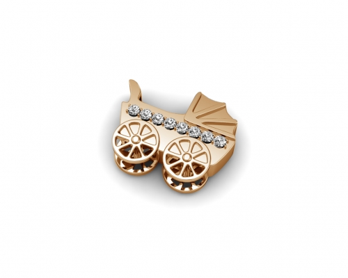 Key Moments Rose Gold Baby Carriage Stones Element 8KM-E00229