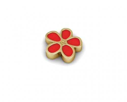 Key Moments Gold Red Flower Enamel Element 8KM-E00177