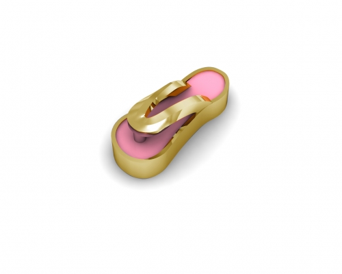 Key Moments Gold Pink Flip Flop Enamel Element 8KM-E00182