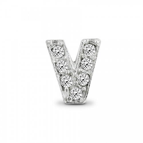Key Moments Silver Letter V Stones Element 8KM-E00082