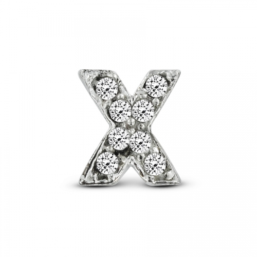 Key Moments Silver Letter X Stones Element 8KM-E00084