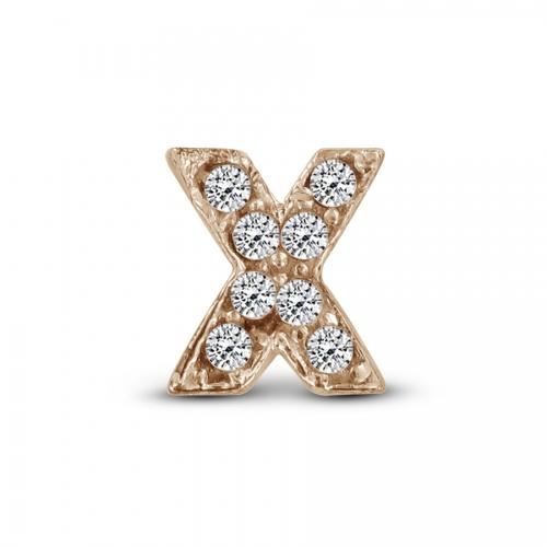 Key Moments Rose Gold Letter X Stones Element 8KM-E00150