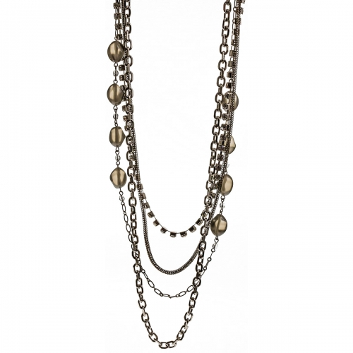 Nicky Vankets Silver Multi Chain Necklace